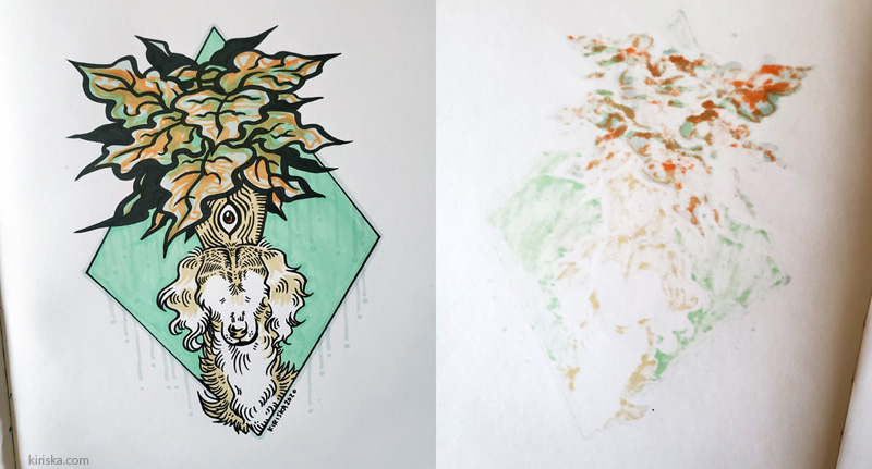Photo composite showing an ink and alcohol marker drawing and the reverse-side show-through