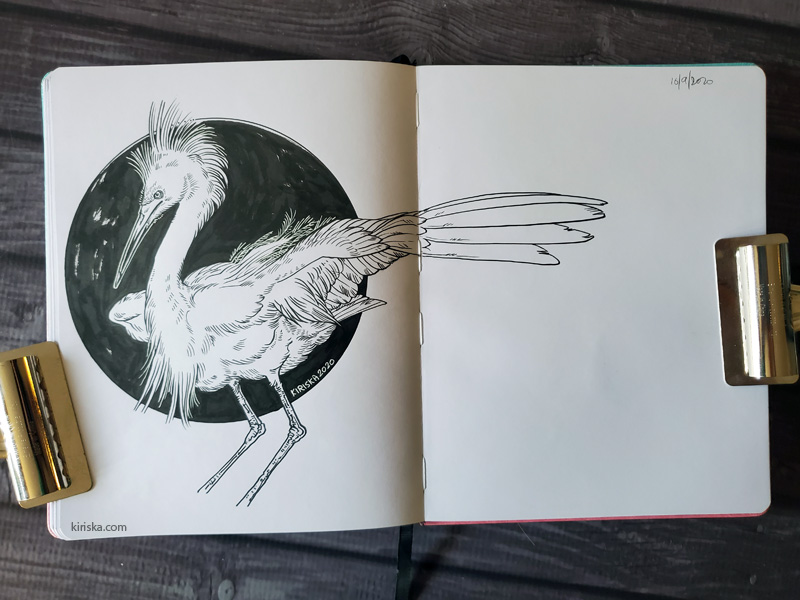 Open sketchbook with a drawing of an egret