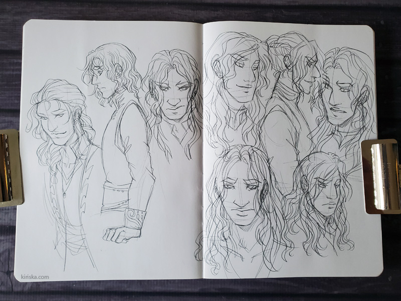 Open sketchbook with character sketches