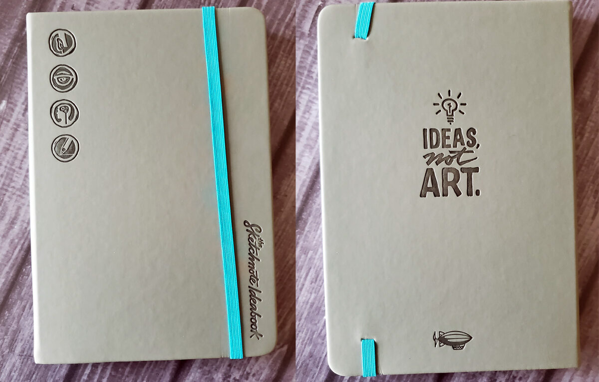 Photo composite of the front and back covers of the Sketchnote Ideabook