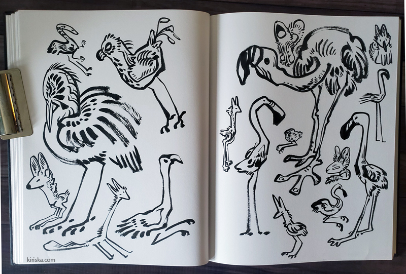Bunch of weird doodles in a sketchbook