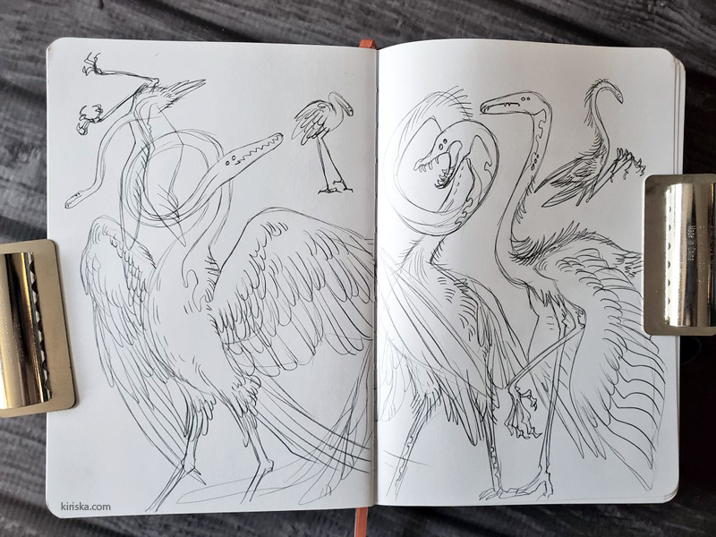 Weird eel-heron sketches