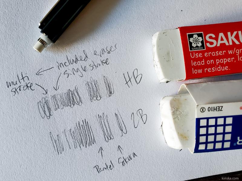 Comparison of Sakura 127 eraser, included Pigma Sensei eraser, and Pentel Hi-Polymer eraser