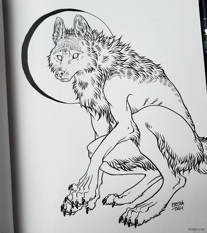 Werewolf drawing with Tombow Fudenosuke.