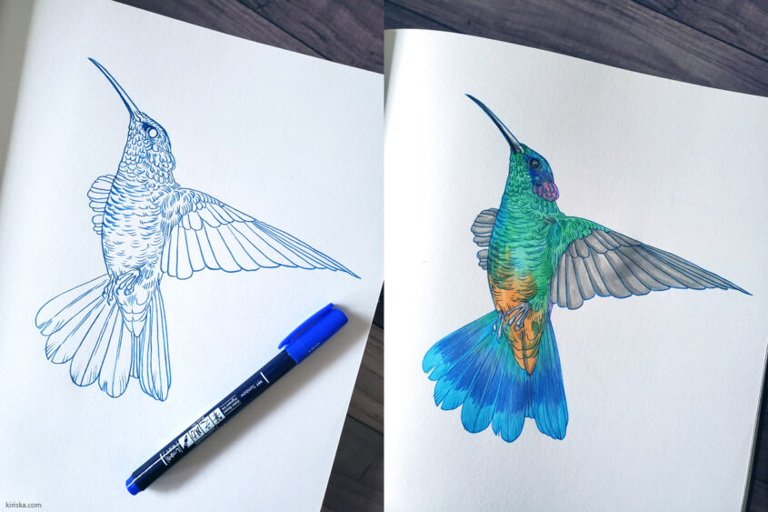 Colored lines with the Tombow Fudenosuke, colored with Copic marker