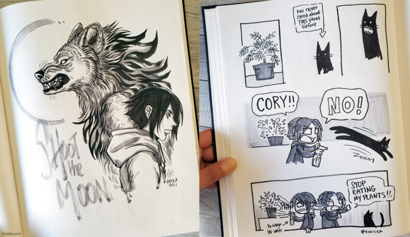 Brush pens, fountain pen inks, and water-based markers on Artist's Loft sketchbook pages