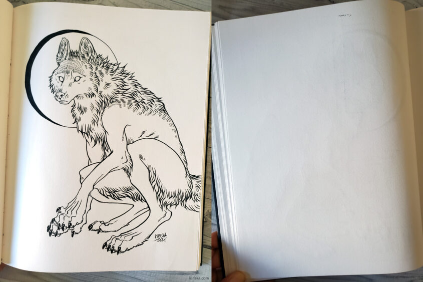 Ink show-through on page of Artist's Loft hardcover sketchbook