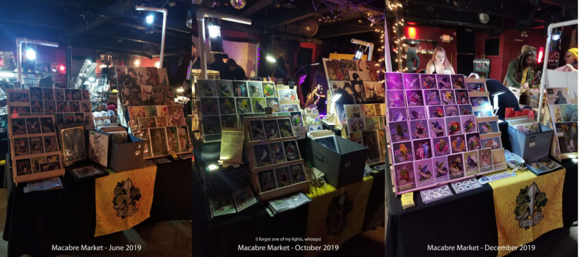 Table photos from Macabre Market June, October, and December 2019