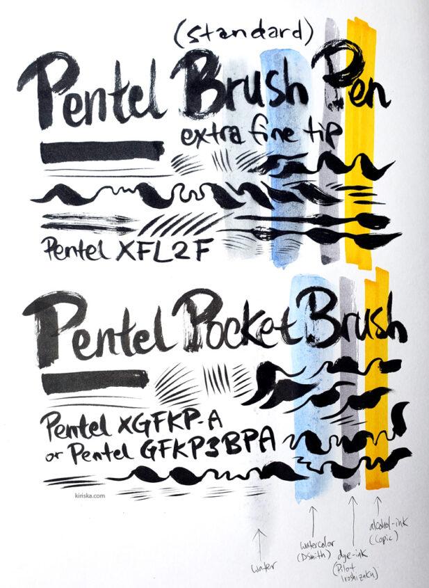 Pentel (Standard) Brush Pen VS Pentel Pocket Brush (Pen)