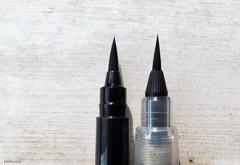 Brush tip comparison, Pentel Pocket Brush and Pentel Standard Brush (extra fine)