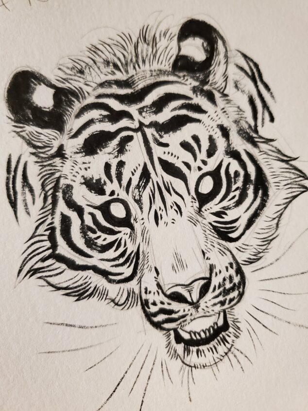 Ink drawing of a tiger's head