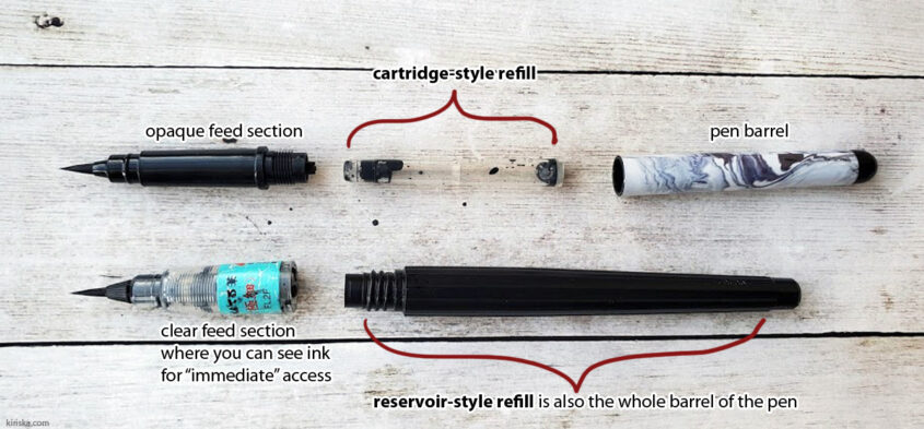 Pentel (Standard) Brush Pen VS Pentel Pocket Brush (Pen) refills
