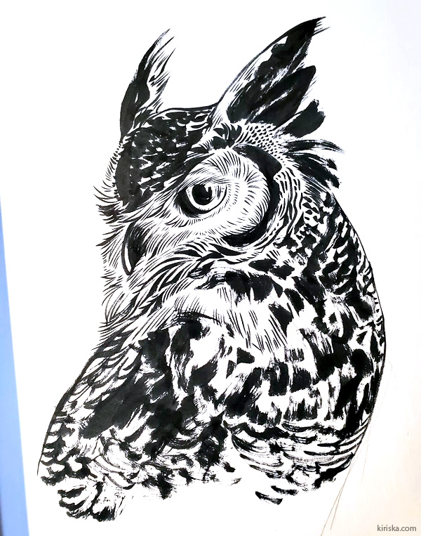 Great horned owl with Pentel Standard Brush in extra fine
