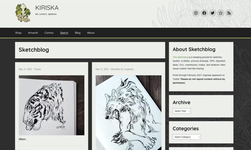 Screenshot of Sketchblog index
