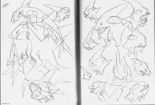 Page of Gible line sketches