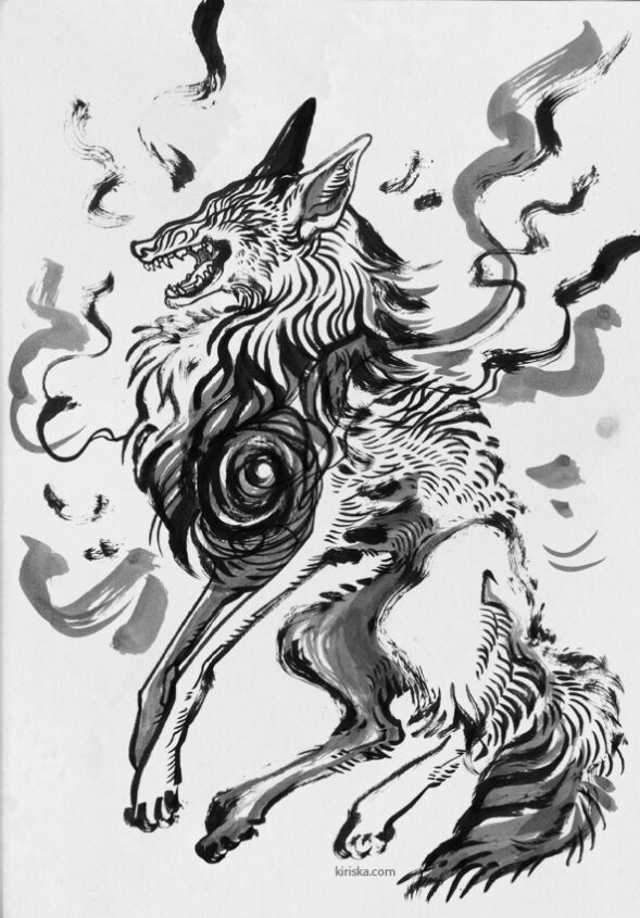 Ink drawing of a wolf-like monster