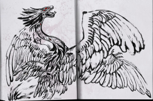 Ink drawing of a feathered wivern monster