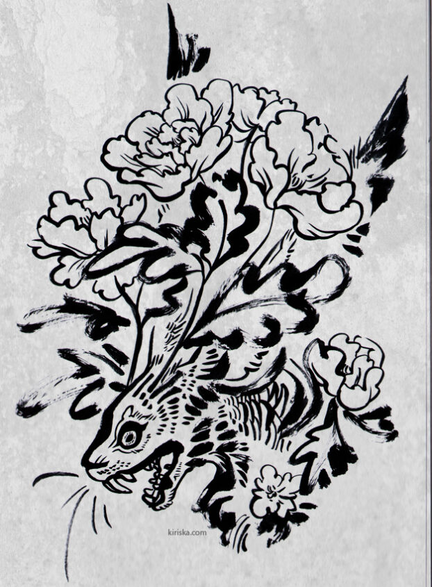 Ink drawing of peonies coming out of a hare