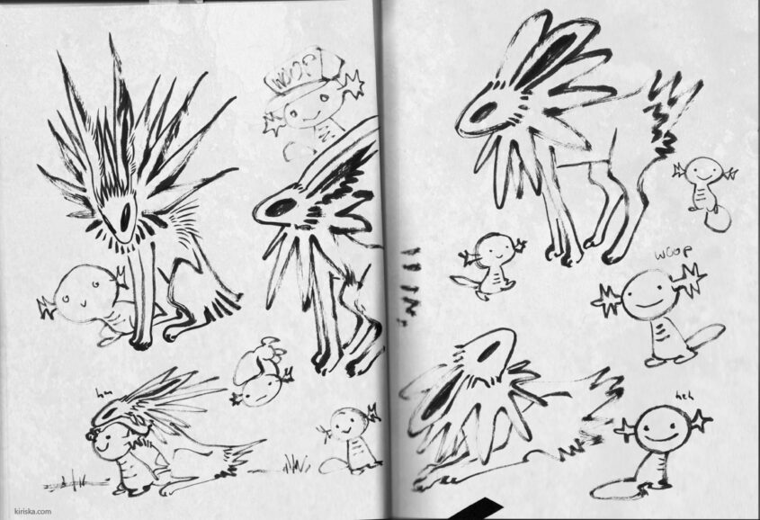Page of messy Jolteon and Wooper doodles