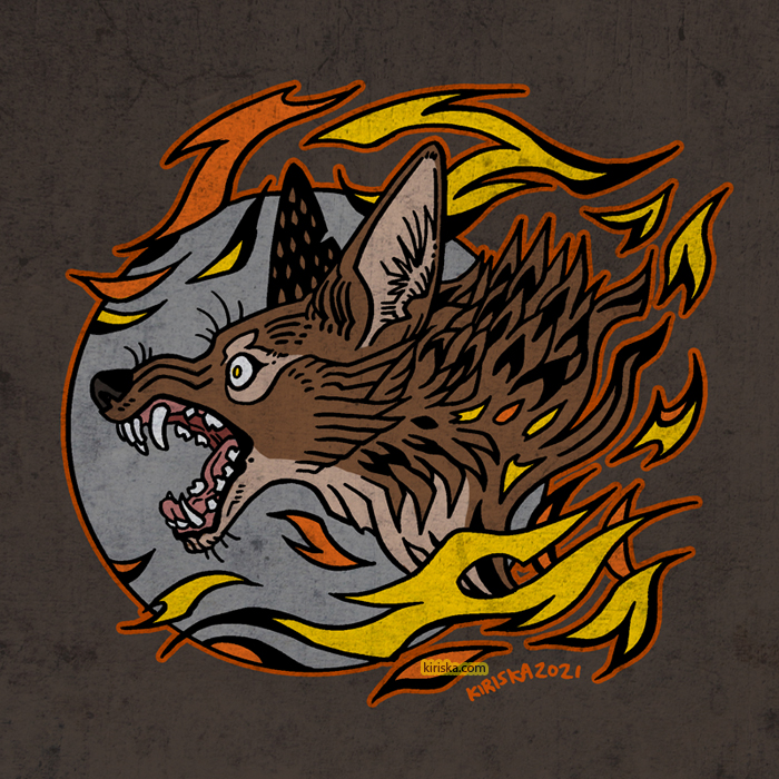Coyote with flames