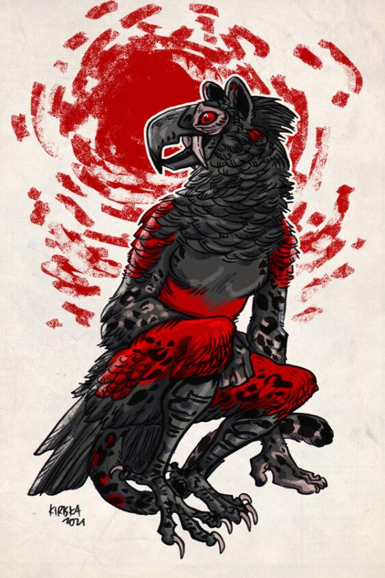 Dracula parrot x jaguar character