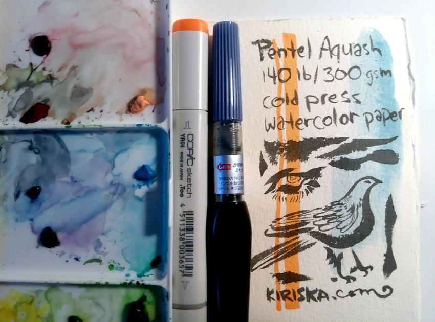 Pentel Arts Aquash Pigment Ink Brush VS watercolor and alcohol inks