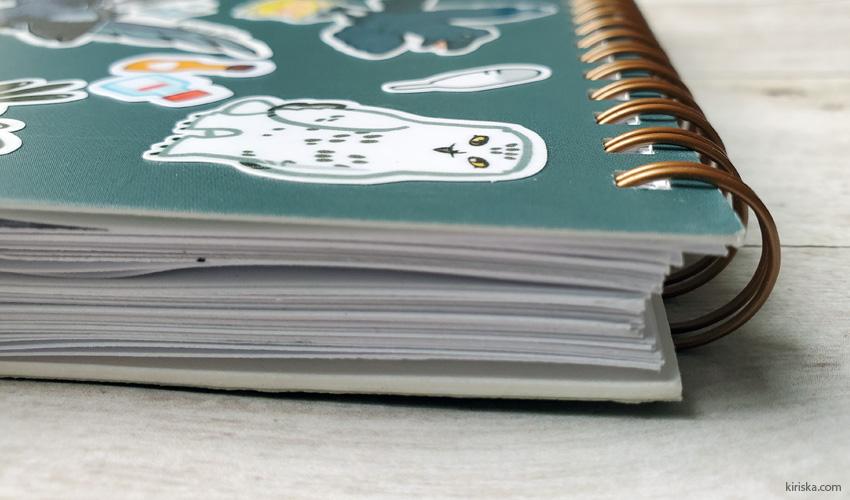 Spiral view of Aimporium sketchbook