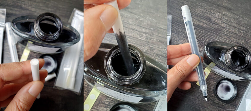 Filling the Kuretake Karappo ink wick