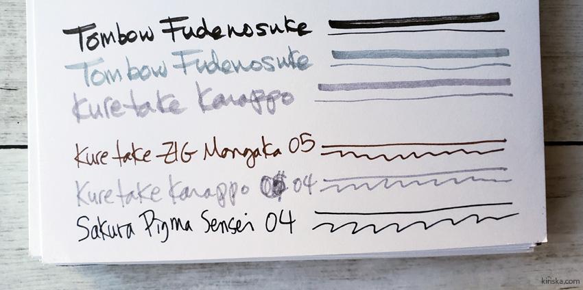 Kuretake Karappo fineliner and felt brush comparisons
