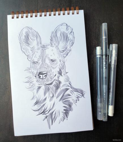 African wild dog drawing with all three Kuretake Karappos