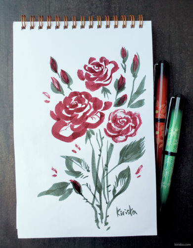 Rose sketch with Pentel pocket brush and fountain pen ink