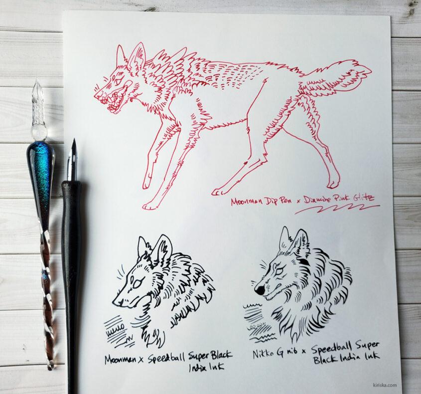 Moonman glass dip pen drawing samples