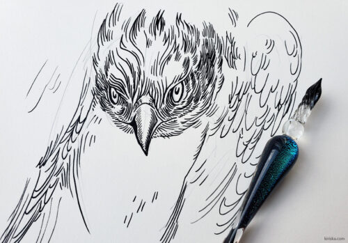 Osprey drawing with Moonman glass dip pen