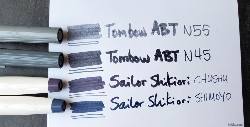 Sailor Shikiori VS Tombow ABT (Dual Brush)